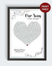 Personalised OUR SONG Lyrics Heart First Dance Wedding Anniversary Print Gift