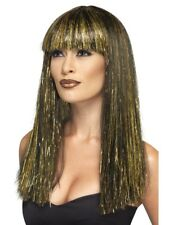 Black Egyptian Goddess Wig Gold Tinsel Adult Womens Smiffys Fancy Dress Costume