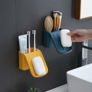 Multifunctional Wall-mounted Drain Soap Box Storage Holder Bathroom Organizer