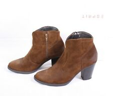 7D Esprit Damen Stiefeletten Ankle Boots Gr. 39 braun Velours Leder Absatz
