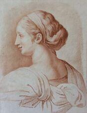 Estampe façon sanguine anonyme XVIIIe portrait de femme
