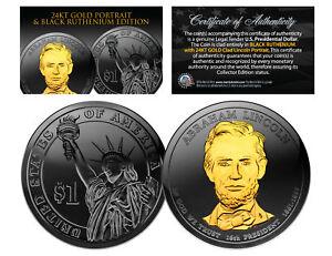 Black RUTHENIUM Abraham LINCOLN Presidential $1 Dollar US Coin 24K Gold Enigma