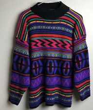 Vintage 90s Multicolor High Neck Patterned Sweater Womens Size L