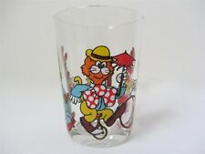 6 x FRENCH VINTAGE DRINKING GLASSES  WITH *CIRCUS ACT/CARTOON* MOTIFS
