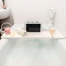 White Wooden Bath Rack Tray Bath Board Caddy Bathroom Storage