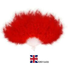 RED FEATHER FAN Hand Held Ladies Burlesque Fancy Dress Costume 20s Flapper UK