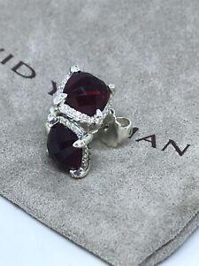 David Yurman Sterling Silver Chatelaine  Diamond Garnet  Stud Earrings
