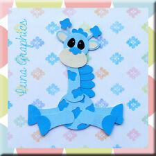 CUTE BLUE GIRAFFE Embellishments Card toppers scrapbooking