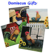 "4"" New! ROOSTER Farmhouse Kitchen BEVERAGE Coaster Set DWK Coasters Set of 4"