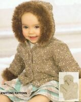(251) Baby Hooded Jacket Knitting Pattern in DK and Faux Fur yarns
