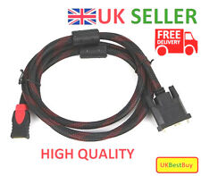 New High Speed DVI-D 24+1pin Male to HDMI Digital Cable Gold Lead - UK SELLER