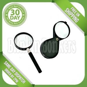 2PC HAND HELD MAGNIFYING GLASS SMALL PRINT FOLDING POCKET MAP READING MAGNIFIER