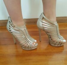 Silvery gold leather stilettos by Siren Size 6.5.  Rrp $150+ EUC!