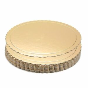 "12-Pack Round Cake Boards Cardboard Gold Scalloped Circle Base, 10"" Diameter"