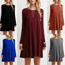 Womens Casual Long Sleeve Solid A-Line T Shirt Crew Neck Tops Loose Slip Dress