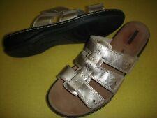 Clarks Leisa Spring Leather Lightweight Slides Sandals Women's 10 W Rose Gold