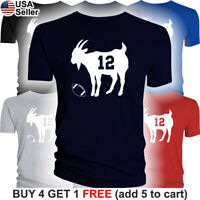 GOAT T-Shirt Tom Brady 12 New England Patriots Jersey Tee Greatest of all Time