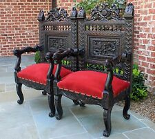 Antique French Oak PAIR Throne Fireside RED Upholstery Arm Chairs Rampant Lions