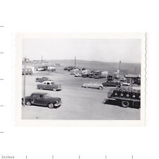 Old Vintage Photo PARKING LOT CLASSIC CARS AND TRAILER