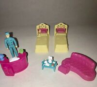 FISHER PRICE SWEET STREETS Furniture LOT Hotel Figure Bellman Beds Lobby Couch +