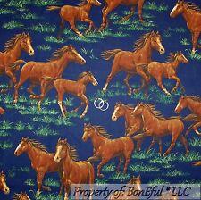 BonEful Fabric FQ Cotton Quilt VTG Blue Green Grass Brown Horse Running Meadow L