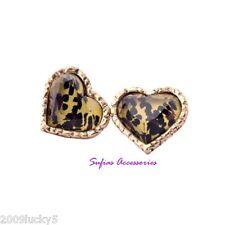 13mm Animal Leopard Print Retro Heart Stud Earrings Love Hearts Resin Crystal