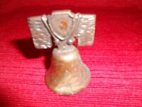 """Vintage Brass / Metal Liberty Bell 2.25"""" Tall made in USA"""