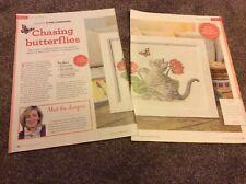 Chasing Butterflies - Playful Kitten cross stitch chart Only (416)