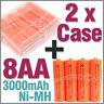 2 Plastic Storage Holder Case Box +8 AA NiMH 3000mAh rechargeable battery Orange