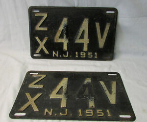 "A Pair of Vintage New Jersey 1951 License Plate """"""ZX 44V N.J. 1951"""""""