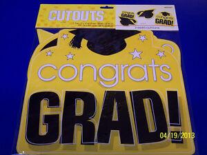 Congrats Grad Cap Graduation Party Hanging Decoration Paper Cutouts - Yellow