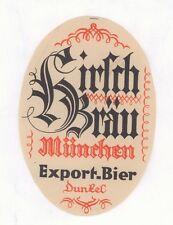 Brauerei Hirsch Bräu altes Bier Etikett aus München