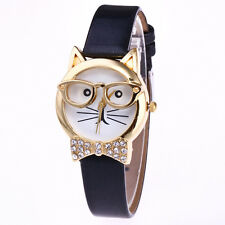 Womens Cute Cat Glasses Casual Watches Girl Leather Analog Quartz Wrist Watch