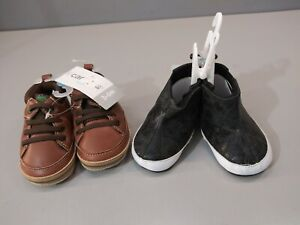 Lot of 2 Carter's & Rising Star Baby Crib shoes 3-6 Months New