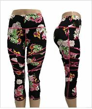 Floral Womens Capri YOGA Workout Running Gym Sport Pants Leggings Fitness