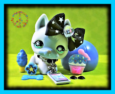 🌺Littlest Pet Shop RARE Blue Snowflake GERMAN SHEPHERD DOG #689 Accessories LOT