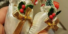 2  SILVER COLOURED FABRIC  STOCKINGS  XMAS DECORATIONS  FOR TREE