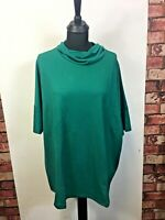 Womens Green Top Blouse Short Sleeve Junarose Neck Style Loose Fit Size M