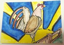 The Rooster Chicken Aceo Original Mixed Media Art Card Painting Signed Schneider