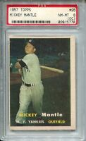 1957 Topps Baseball #95 Mickey Mantle Card Graded PSA NM Mint 8 OC Yankees '57