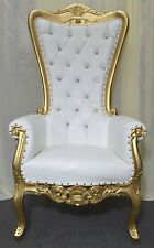 Gold Baroque Hand Carved Throne Chair With White Vinyl & Crystal Buttoning