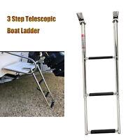 3 Step Stainless Steel Telescopic Boat Ladder Foldable Swim Step Upper Platform