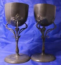 Antique Art Nouveau/Jugendstil Pair of Pewter Pokal Vases Germany c.1900s
