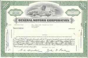 1962 GM stock certificate Jean Kane Foulke Du Pont General Motors; Dupont family