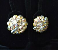 "Vintage Aurora Borealis Rhinestone Silver Tone  1"" Clip On Earrings"