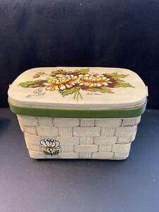 Vintage Signed Caro-Nan Basket Purse Handpainted Peony