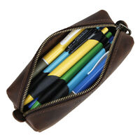 Handmade Vintage Leather Zipper Pen Pencil Pouch Wallet Glasses Toolkit Case Box