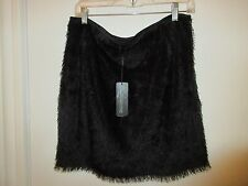 Kardashian Collection Ladies Sz Large Fringed Black Faux Fur Skirt Nwts Rtl $68