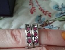 Silver Ruby small hoop earrings