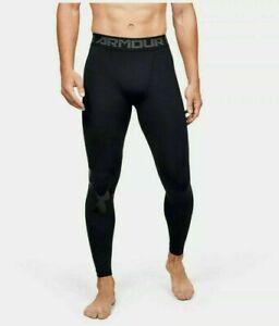 Under Armour Mens HeatGear Full Length Leggings 1351819-001 Black NWT